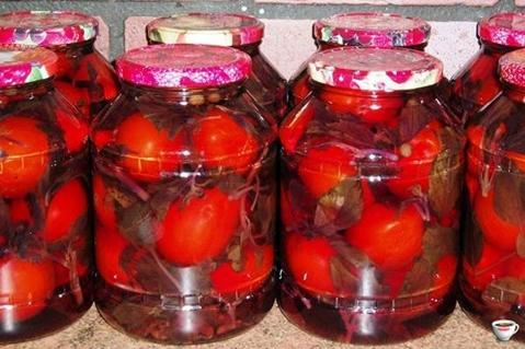 помидоры с базиликом в банках